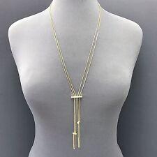 Layered Adjustable Bar Pendant Necklace Classic Fabulous Gold Finish Double