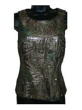 Womens Vivienne Tam Bronze Embroidered Metallic Tank Top Shell 1 Small