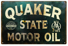 "Reproduction Quaker State Motor Oil Sign 12""x18"""