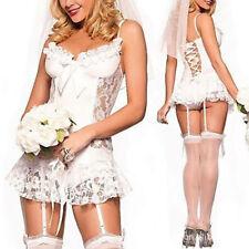 Sexy Lingerie White Lace Bridal Wear Wedding Dress Perspective Pajamas Babydol B