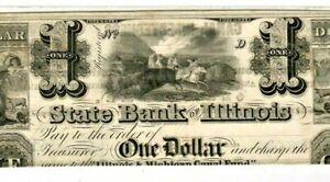 "$1 ""INDIANS HUNT BUFFALO"" 1800'S (BANK OF ILLINOIS) ""BUFFALO/INDIANS  CRISPY!!!!"