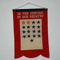 WW2 U. S. ARMY HOME FRONT BANNER WITH 2 GOLD STARS AND 15 BLUE ONES. 17 STARS