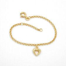 Echt Gold 333 8 Kt Kinder Baby Taufe Motiv Armband mit 1 Herz Einhänger Herzchen
