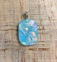Light Blue Multi Color Fused Dichroic Art Glass Jewelry Pendant FREE shipping  s