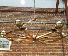 Unique Vintage Six Light Wagon Wheel Hanging Chandelier Light