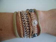 """bracelet bresilien """"shamballa"""" aimanté,multirangs,argenté,marron clair,strass."""