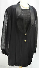 Vtg 80s Diana Marco Black Jacket Sheer sleeve evening Blazer Coat Top Plus SZ 22