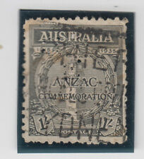 "ANZAC 1/- black stamp Australia 1935 with ""F"" type 2 private perfin, scarce"