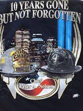 New York Fire Dept NYFD 10 YRS GONE BUT NOT FORGOTTEN 2 sided T-Shirt sz XL new
