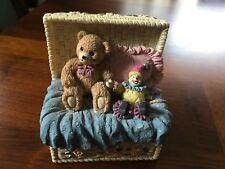 "Bear & Clown Figurine in Yellow Woven Composite Basket 5"" Tall"