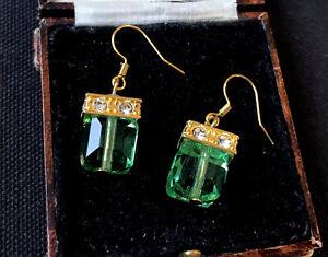 Vintage Style Jewellery Peridot Gemstone And Zircon Earrings 18K Gold Plated
