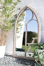 La Hacienda Church Window Stone Effect Lindesfarne Metal Garden Mirror Feature