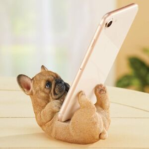 Adorable Tan French Bulldog Puppy Dog Cell Phone Holder Desk Stand Statue