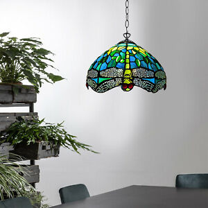 Tiffany Style Pendant Lamp Green Dragonfly Design Crystal Bead Handcrafted Shade