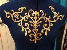 metallic Gold embroidery patch lace applique venise yoke dress dance costume