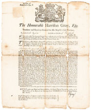 1763 Massachusetts-Bay Broadside Tax Warrant Signed by Harrison Gray, Treasurer