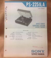 Genuine Sony PS-2251LA Direct Drive Turntable System Service Manual