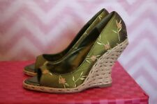 Hype Carlie Green Floral Open-Toe Curved In Grass Wedge Heels Size 6.5M HTF