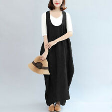 UK Women Sleeveless Casual Loose Tunic Baggy Long Maxi Dress Bib Kaftan Pinafore