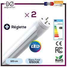 2x Tubes  LED 120cm  18W Blanc  6500K Haute Luminosité Alu résistant +réglette
