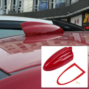 Red Universal Car Shark Fin Roof Antenna Aerial Cover AM/FM Radio Decorate Cover