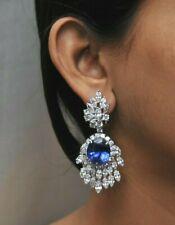 Blue Oval 925 Sterling Silver White Marquise CZ Long Dangle Party Earrings Women