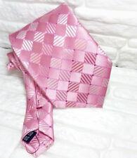 Corbata rosa TOP calidad NUEVO Made in Italy 100% seda puntadas rojas