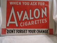 1939 AVALON CIGARETTES PAPER SIGN