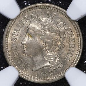 3 Cents 1865 NGC AU58 United States USA Nickel Great Luster Undergraded