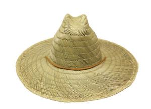 LARGE WIDE Brim NATURAL Straw Hat Summer Sombrero BEACH LIFEGUARD Pescador