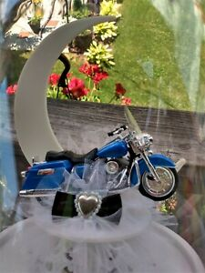 Motorcycle Wedding Cake Topper Harley Honda Blue Bike