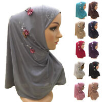 One Piece Amira Women Hijab Headscarf Islamic Flower Cap Cover Turban Wrap Hijab