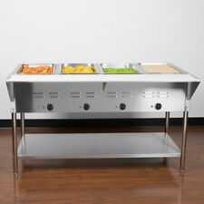 "57"" 4-Pan Restaurant Electric Steam Table Buffet Food Warmer - 208/240 Volt"