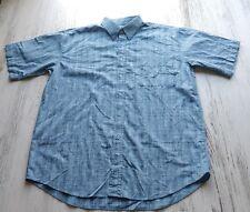 Scandia Woods Women's Top large blue plaid button front cotton short sleeve