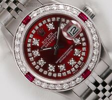 Rolex Lady Datejust Steel 26mm Watch-Ruby Diamond Bezel-Red String Diamond Bezel