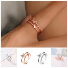 Crystal Butterfly Ring Women Girls Rose Gold Opening Adjustable Wedding Gift