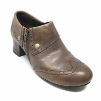 Women's Born Sia Clogs Booties Shoes Size 7.5 M Brown Leather Side Zip Up P12