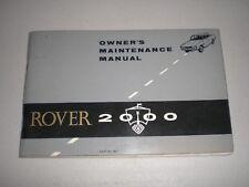 Rover 2000 P6 Original Unused Owners Handbook 4817 Maintenance Service Book