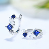 2Ct Princess Cut Blue Sapphire Huggie Hoop Earrings Solid 18K White Gold Finish