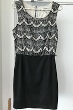 Forever21 Black And Cream office party work Dress - Sz Small / 8