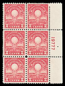 Scott 654 1929 2c Edison Perf 11 Mint Plate Block of 6 VF OG NH Cat $40