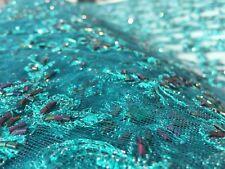 BORDADO & ENCAJE francés con cuentas 'Monpazier' Esmeralda (0.5m) tela del vestido