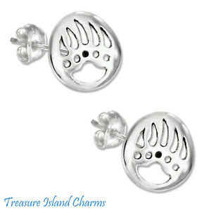 Bear Claw Paw Print 925 Sterling Silver Stud Post Earrings Hypoallergenic Posts