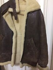 VTG BROS B-3 BOMBER FLIGHT MOTORCYCLE JACKET SHEEPSKIN BROWN SIZE40
