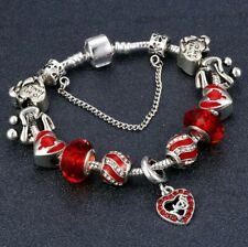 Crystal Charm Bracelets Silver Bracelet For Womens Ladies Bead Safety Chain mom