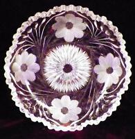 Antique Cut Glass Candy Mint Nut Dish Flower Design A Beauty