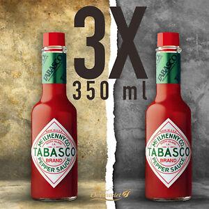 3x Tabasco Pfeffer Sauce 350ml 100% natürlich Zutaten scharfe Chili-Sauce 1050ml