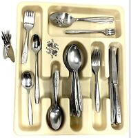 """VINTAGE ONEIDA COMM. STAINLESS FLATWARE 58 Pc """"MY ROSE"""" W/vtg Tray And SS Picks"""