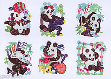 Chinese Paper Cuts SINGLE PANDA Set 10 small colorful Single pieces Chen