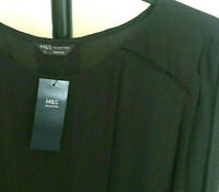 M&S Collection Size 16 Black Long Sleeve Crepe Blouse Top Bnwt